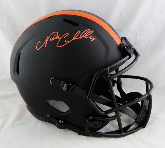 Nick Chubb Autographed Cleveland Browns F/S Eclipse Speed Helmet - Beckett W Auth *Orange