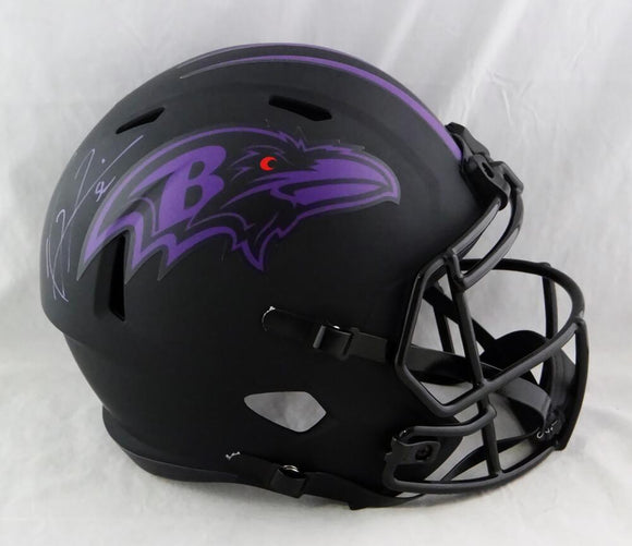 Ray Lewis Autographed Ravens F/S Eclipse Speed Helmet - Beckett Auth *Purple