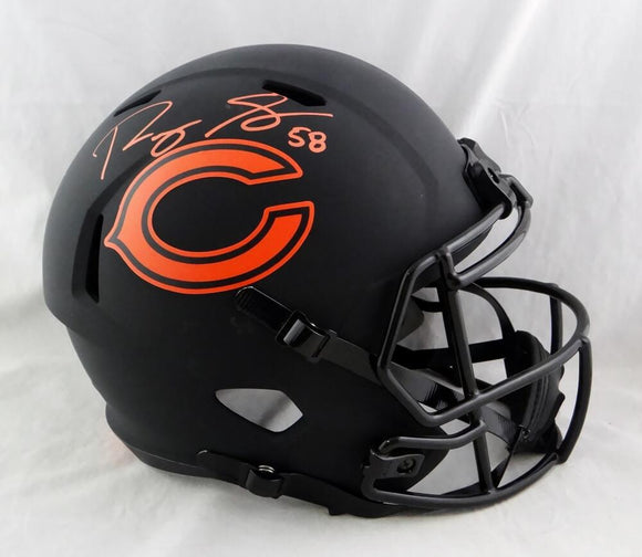 Roquan Smith Autographed Chicago Bears F/S Eclipse Speed Helmet- Beckett W Auth *Orange