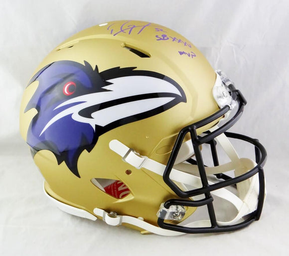 Ray Lewis Signed Baltimore Ravens F/S Speed AMP Authentic Helmet w/ SB MVP - Beckett W Auth *Purple
