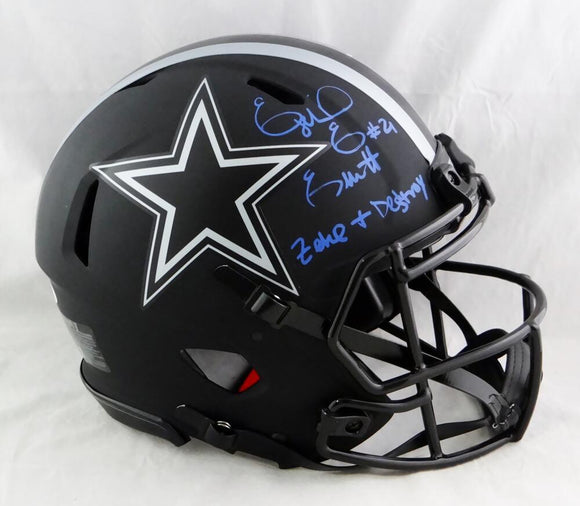 Ezekiel Elliott Autographed Cowboys F/S Eclipse Speed Authentic Helmet w/ Insc- Beckett W Auth *Blue
