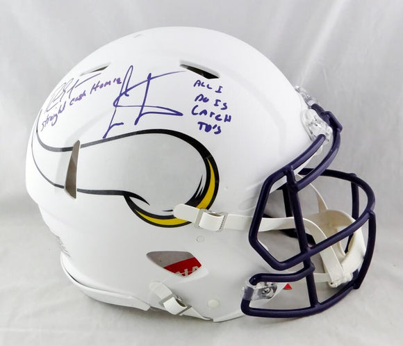 Randy Moss / Cris Carter Autographed Vikings F/S Flat White Authentic Helmet w/Insc- Beckett W Auth *Purple