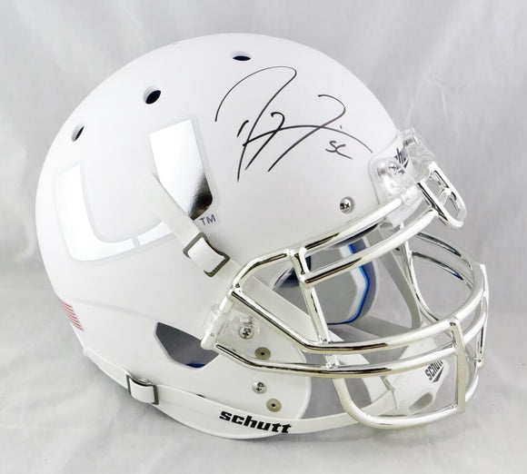 Ray Lewis Autographed Miami Hurricanes F/S White w/Chrome Logo Schutt Authentic Helmet- Beckett Auth *Black