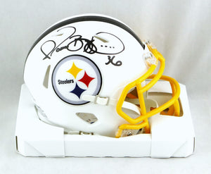 Jerome Bettis Autographed Pittsburgh Steelers Flat White Speed Mini Helmet - Beckett W Auth *Black