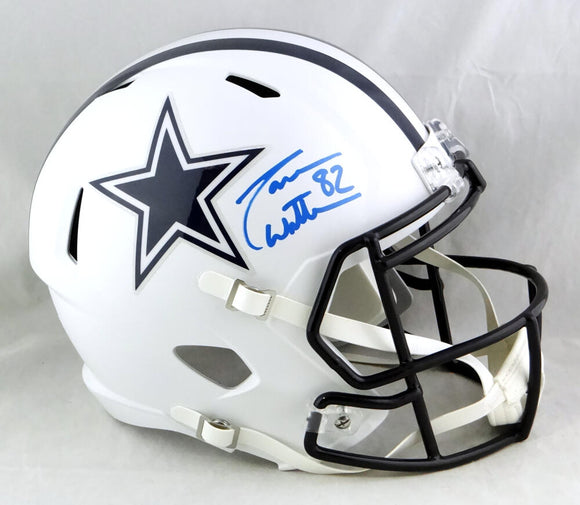 Jason Witten Autographed Dallas Cowboys F/S Flat White Speed Helmet - Beckett Auth *Blue