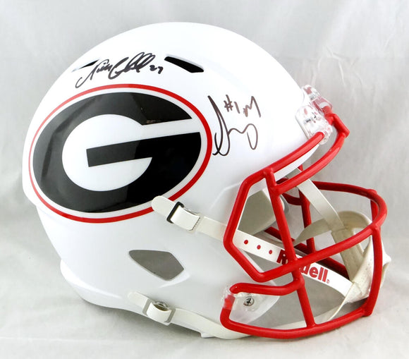 Nick Chubb / Sony Michel Autographed Georgia Bulldogs F/S AMP Speed Helmet - Beckett W Auth *Black