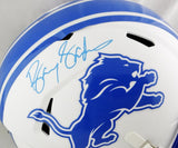 Barry Sanders Autographed Detroit Lions F/S Flat White Speed Helmet - Beckett *Blue