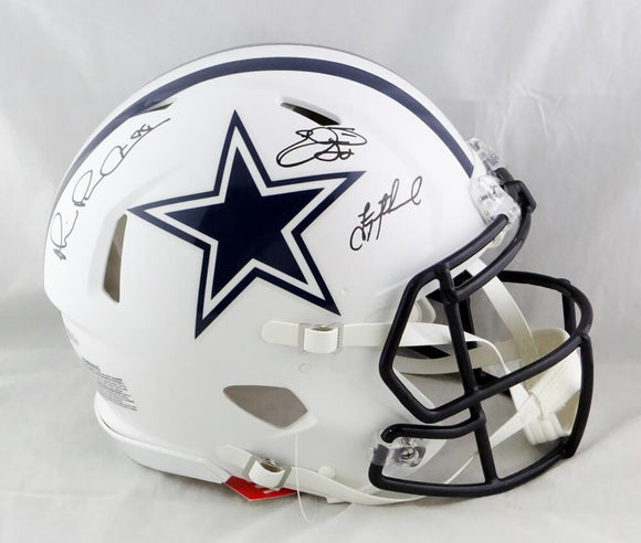 Irvin, Smith, Aikman Signed Dallas Cowboys F/S Flat White Authentic Helmet - Beckett W Auth
