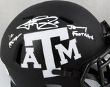 Johnny Manziel Autographed Texas A&M Eclipse Speed Mini Helmet w/ 2 Insc - JSA W *White