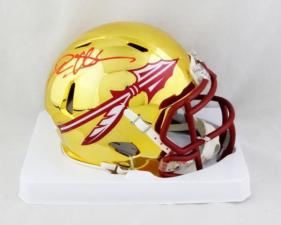 Deion Sanders Signed Florida State Chrome Mini Helmet - Beckett W Auth *Red