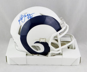 Marshall Faulk Autographed Los Angeles Rams Flat White Mini Helmet - Beckett W Auth *Blue