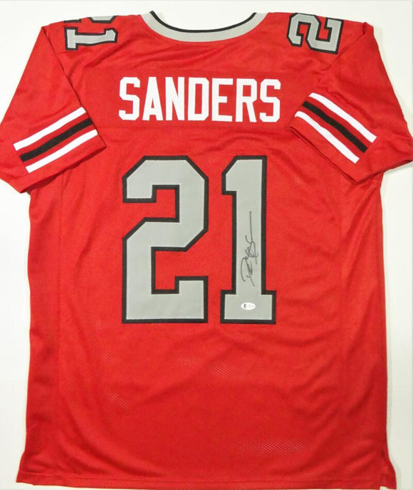 Deion Sanders Autographed Red Pro Style Jersey- Beckett W Auth *1