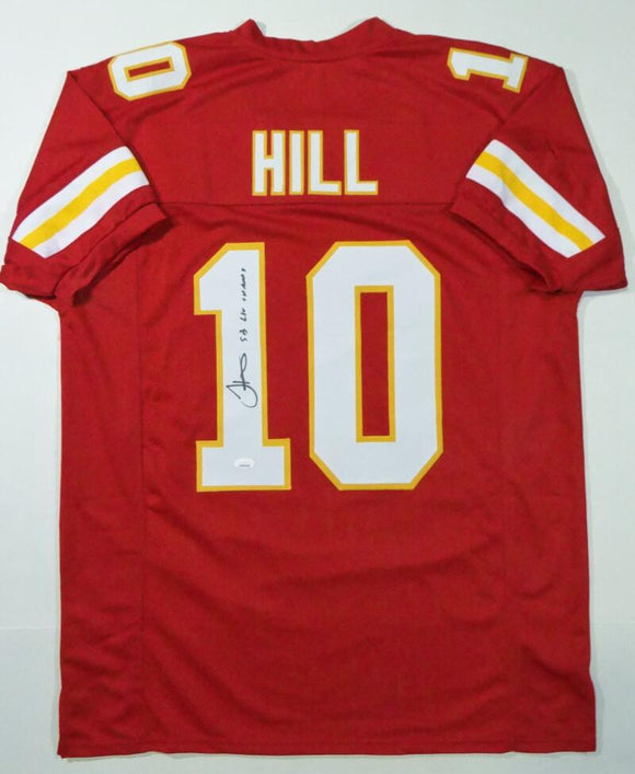 Tyreek Hill Autographed Red Pro Style Jersey w/ SB Champs - JSA W Auth *1