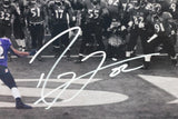Ray Lewis Autographed Baltimore Ravens 16x20 Last Dance BW Spotlight Photo - Beckett Auth *Short Sig