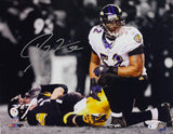 Ray Lewis Signed Ravens 16x20 Over Roethlisberger Spotlight PF Photo- Beckett *Silver