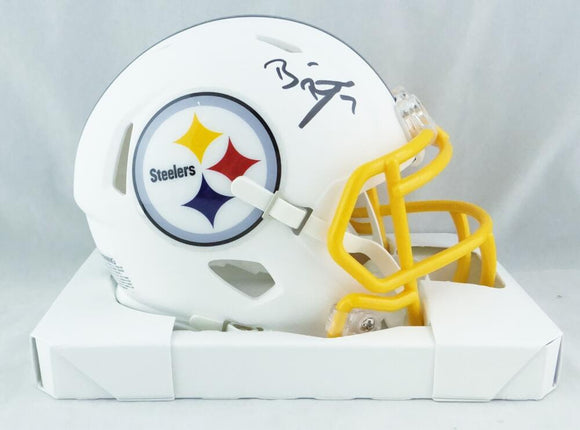 Ben Roethlisberger Autographed Pittsburgh Steelers Flat White Mini Helmet - Fanatics Auth *Yellow