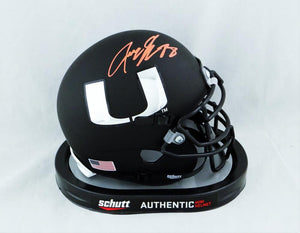 Jeremy Shockey Autographed Miami Hurricanes Flat Black Mini Helmet - JSA W Auth *Orange