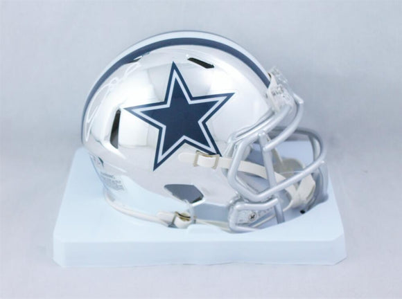 CeeDee Lamb Autographed Dallas Cowboys Chrome Speed Mini Helmet - Fanatics Auth *White