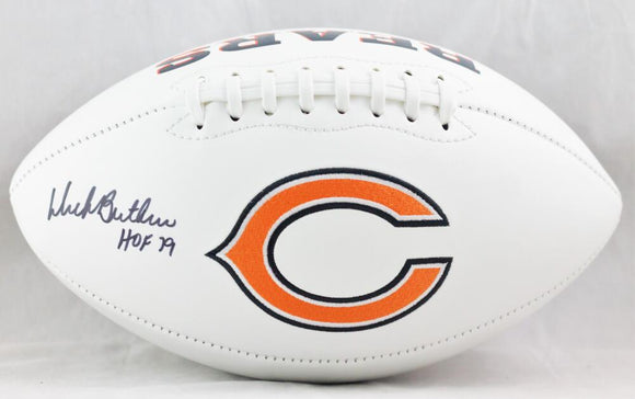 Dick Butkus Autographed Chicago Bears Logo Football w/ HOF 79 - JSA W Auth *Stacked