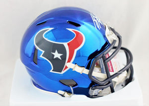 JJ Watt Autographed Houston Texans Chrome Speed Mini Helmet- JSA W Auth *Front