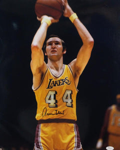 Jerry West Autographed Los Angeles Lakers 16x20 Close Up Shooting Photo - JSA W Auth *Black