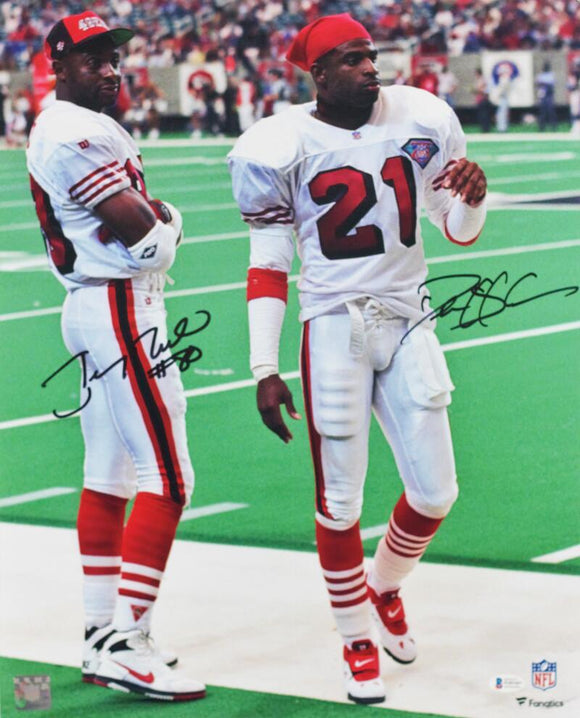 Deion Sanders / Jerry Rice Autographed 16x20 FP On Sideline - Beckett W Auth *Black