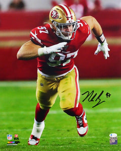 Nick Bosa Autographed San Francisco 49ers 16x20 Rushing PF Photo- Beckett W Auth *Black