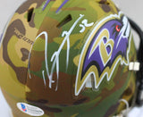 Ray Lewis Autographed Baltimore Ravens Camo Speed Mini Helmet- Beckett W Auth *