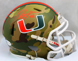 Ray Lewis Autographed Miami Hurricanes Camo Speed Mini Helmet - Beckett W Auth *Orange