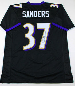 Deion Sanders Autographed Black Pro Style Jersey - Beckett W Auth *7