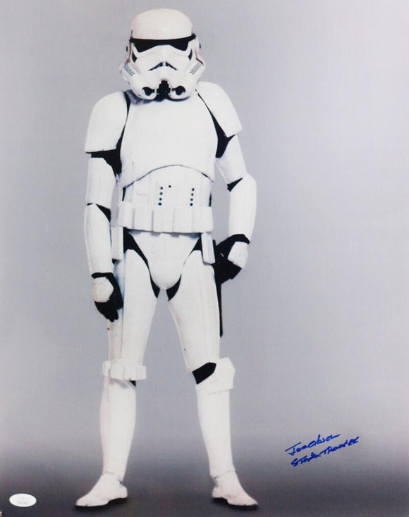 Joe Gibson Autographed Full Body 16x20 Photo w/ Stormtrooper - JSA Auth *Blue