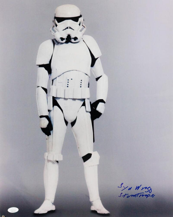 Syd Wragg Autographed Full Body 16x20 Photo w/ Stormtrooper - JSA Auth *Blue