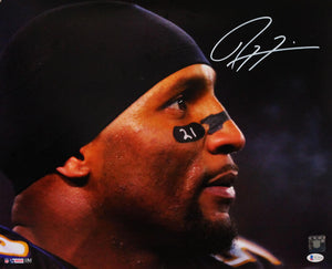 Ray Lewis Autographed Baltimore Ravens 16x20 HM Face Close Up Photo - Beckett W Auth *White