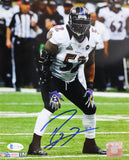 Ray Lewis Autographed Baltimore Ravens 8x10 HM Hands on Knees Photo - Beckett W Auth *White