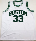 Larry Bird Autographed White Pro Basketball Jersey- Beckett Auth *R3