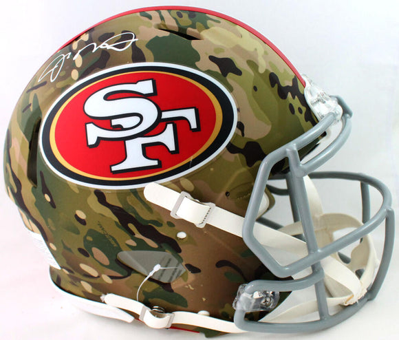 Joe Montana Autographed San Francisco 49ers F/S Camo Speed Authentic Helmet - Beckett W Auth *White