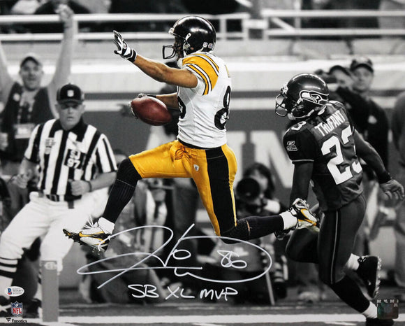 Hines Ward Autographed Pittsburgh Steelers 16x20 FP Spotlight Photo w/ SB MVP - Beckett W Auth *White