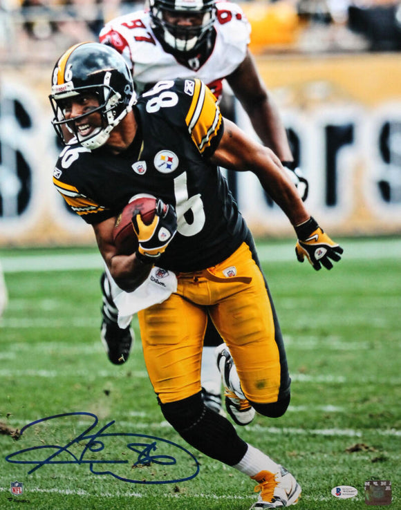 Hines Ward Autographed Pittsburgh Steelers 16x20 FP Running Black Jersey Photo - Beckett W Auth *Blue