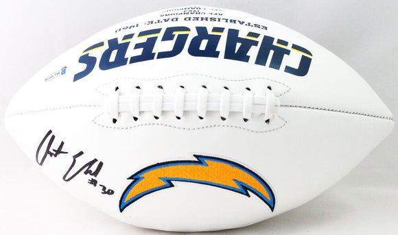 Austin Ekeler Autographed Los Angeles Chargers Logo Football - Beckett W Auth *Black
