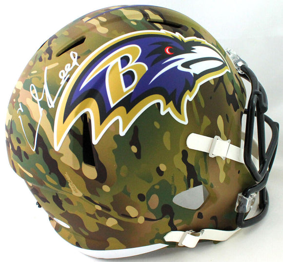 Ed Reed Autographed Baltimore Ravens F/S Camo Speed Replica Helmet - Beckett W Auth *White