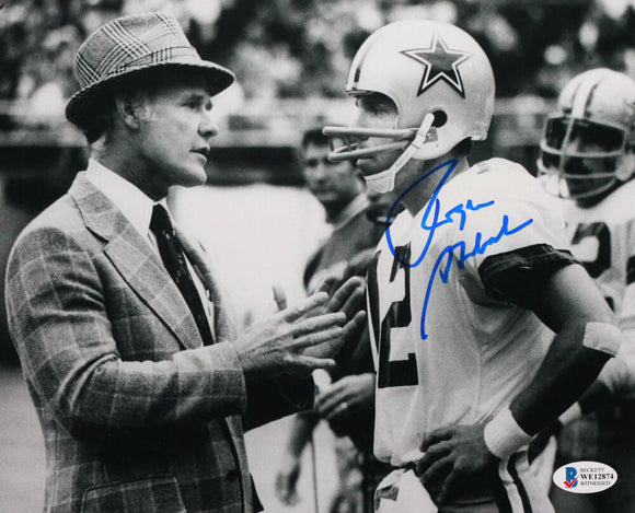 Roger Staubach Autographed Cowboys 8x10 w/ Tom Landry Photo - Beckett W Auth *Right