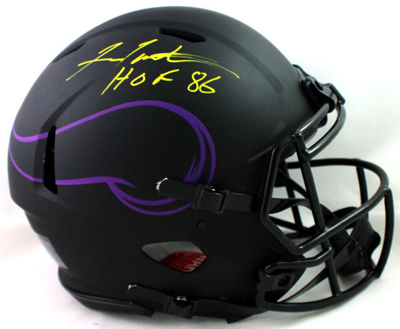 Fran Tarkenton Autographed Minnesota Vikings F/S Eclipse Authentic Helmet w/HOF- JSA Witness *Yellow