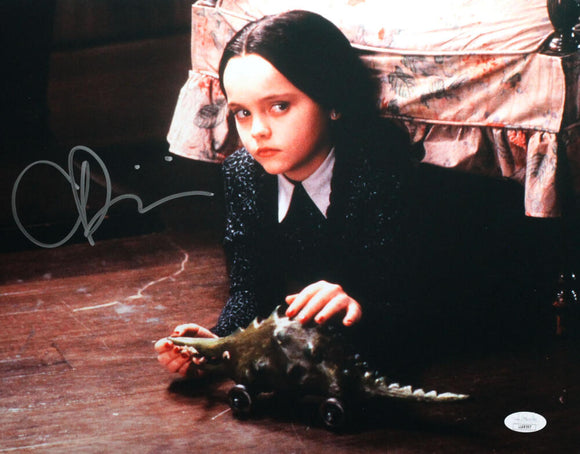 Christina Ricci Autographed 11x14 Photo Addams Family Movie Under Chair - JSA Auth *Silver