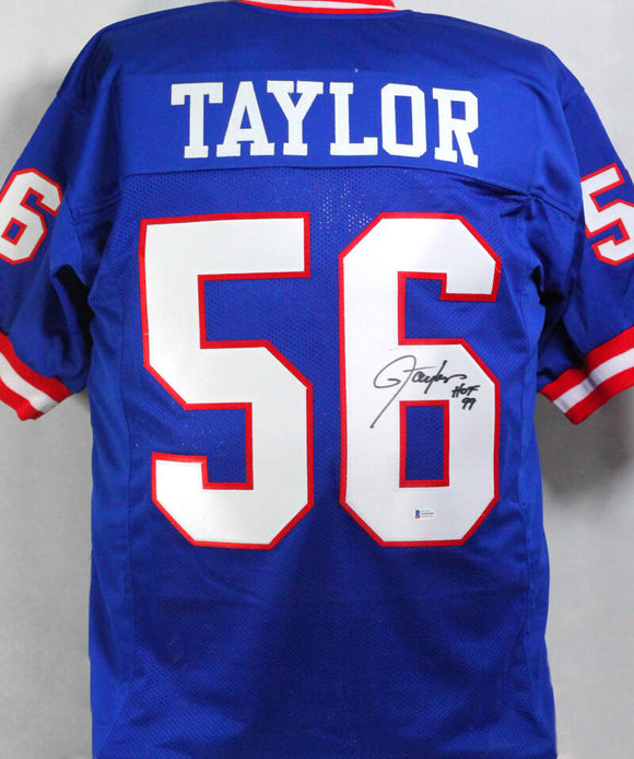 Lawrence Taylor Autographed Blue Pro Style Jersey w/ HOF - Beckett W Auth *