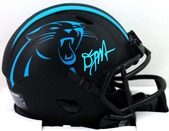 DJ Moore Autographed Carolina Panthers Eclipse Speed Mini Helmet - Beckett *Blue