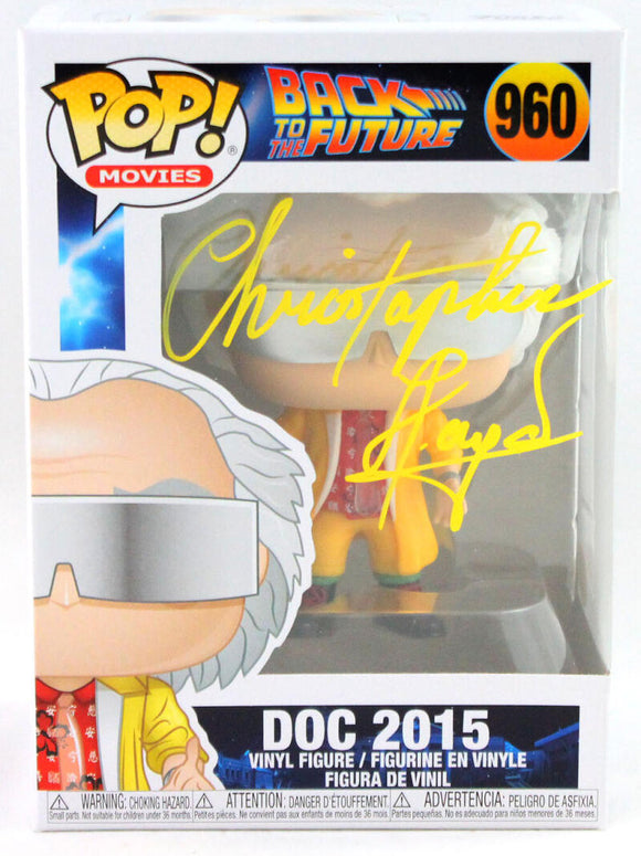 Christopher Lloyd Autographed Doc in 2015 Funko Pop Figurine #960- JSA *Yellow