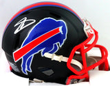 Stefon Diggs Autographed Buffalo Bills Flat Black Mini Helmet - Beckett Witness *Silver