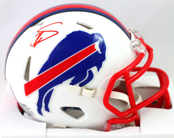 Stefon Diggs Autographed Buffalo Bills Flat White Mini Helmet - Beckett Witness *Red