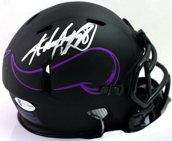 Adrian Peterson Autographed Minnesota Vikings Eclipse Mini Helmet - Beckett Witness *Silver