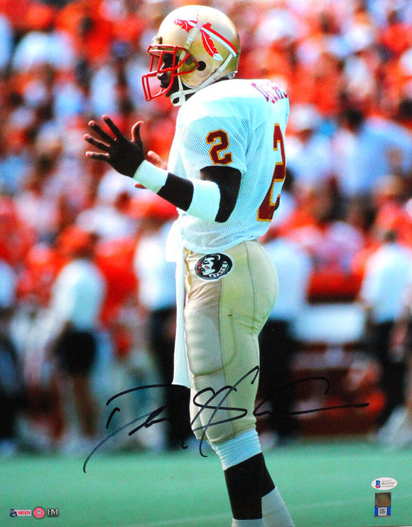 Deion Sanders Signed FSU Seminoles 16x20 White Jersey HM Photo- Beckett W *Black